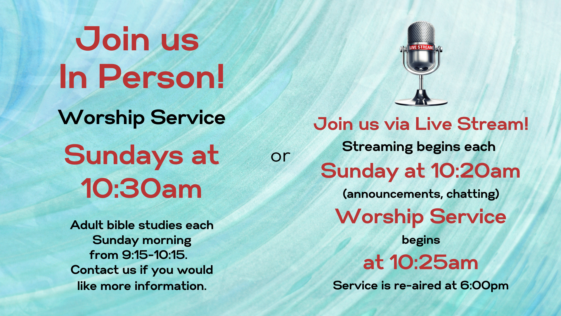 Worship Service in-person & online